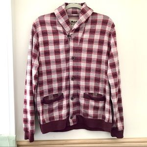 Maroon Checkered Sweater w/ Pockets